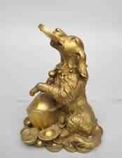 China's Seiko carving pure brass Dog hug yuan bao statue
