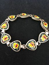 1930s Made In Rome Miniature Mosaic Flower Bracelet