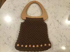 Vintage Mod Boho Chic Brown Macrame Purse With Beads and Wood Handle, unlined