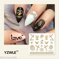Halloween 3D Nail Art Stickers Decals Gold Skull Bones Pumpkins Chain Gel Polish