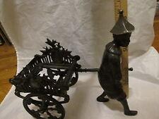 Vintage Bronze Rickshaw W/ Driver One Arm - See Photos - Re-Purpose?