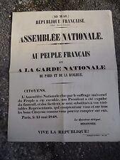 Affiche politique 15 mai 1848 République Française Assemblée Nationale Degousée
