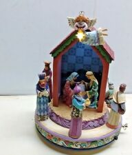 """Jim Shore Nativity Figurines """"Oh Holy Night Come & Behold Him"""" Lighted Music Box"""