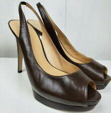 GUESS Women's Chandrika Peep Toe Platform Slingback Brown High Heels Size 9.5 M