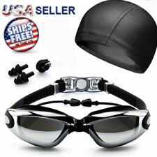 Swimming GOGGLES Glasses UV Protection Anti Fog Swim Cap Ear Nose Plugs Pool New