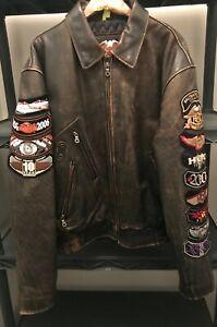 Vintage Men's Harley Davidson Leather Bomber Jacket Sz Large Distressed Patches