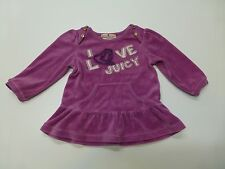 Juicy Couture Baby Girls Size 12-18 Months Purple Velour Shirt Great Condition