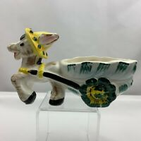 Vintage Large Donkey Pulling Cart Planter Yellow Hat Flowers  - Unknown Maker