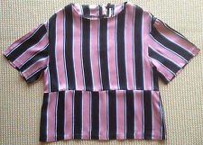 Topshop Boutique Vintage 80s Style Pink Striped Boxy Oversized Blouse Top - UK 8