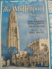 1936 YALE UNIVERSITY WHIFFENPOOF SONG RUDY VALLEE VINTAGE SHEET MUSIC FOOTBALL