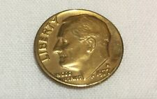 Gold electroplated Roosevelt dime 1977 coin, collectible, vintage