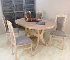 Essgruppe 5-tlg. Auszugtisch oval Esstisch Stühle Farbe: Buche-Natur/Cappuccino