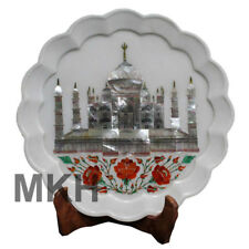 Tajmahal Marble Plate Inlay Wall Decorative Plaque Serving Stone Vintage Platter