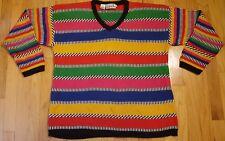 RAFAELLA sweater M multi color ramie cotton stripes rainbow Zach Morris funky