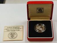 1985 United Kingdom Silver Proof Piedfort One Pound Coin- Leek- Box & COA
