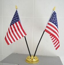 """USA TABLE FLAG X 2 WITH GOLD BASE desktop flags 6"""" x 4"""" america AMERICAN U.S.A."""