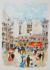 "URBAIN HUCHET ""PARIS SCENE"" Hand Signed Limited Edition Large Art Lithograph"