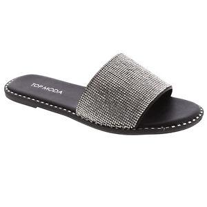 New Women's Gold Trim Single Band Open Toe Flat Summer Slipper Slide Sandal
