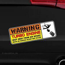 1x Warning Turbo Engine Motor Aufkleber Warnung Sticker Auto Tuning Shocker jdm
