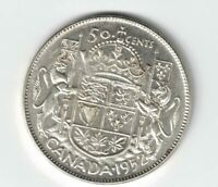 CANADA 1952 WIDE 50 CENT HALF DOLLAR KING GEORGE VI .800 SILVER COIN