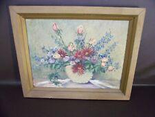 Vintage Original Floral Vase Painting By Jane M.Weller Signed (Damaged)