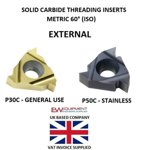 16ER Metric ISO External Carbide Threading Inserts - General Use / Stainless