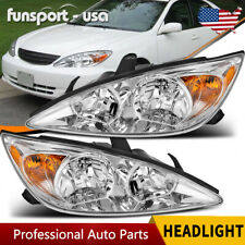 For 2002 2004 Toyota Camry Chrome Headlights Headlamp Assembly Replacement 02 04