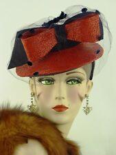 VINTAGE HAT 1940s STUNNING RED STRAW & DARK BLUE FELT BIG BOW TILT TOPPER w VEIL