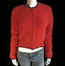 "Fuzzy 70% Angora 5-7-9 Red Long-Sleeve Crew-Neck Cardigan Sweater 36""-Bust"