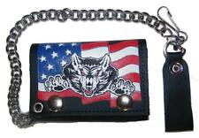 AMERICAN FLAG WOLF TRIFOLD BIKER WALLET W CHAIN mens LEATHER #624 wolves new