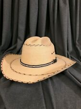 Black Diamond Size 7 5/8 Western Straw 50X Cattlemans Crease with Inlay Pattern
