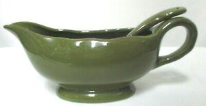Better Homes Gravy Sauce Boat Dish w/ Spoon Green stoneware serving ladle