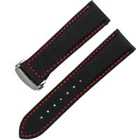 NW HQ 22mm Black Canvas Leather Watch Strap Red Stitching With Deployment Clasp