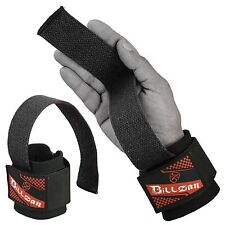 WEIGHT LIFTING BAR STRAPS GYM BODYBUILDING WRIST SUPPORT WRAPS BANDAGE BLACK