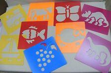 9 Lavabile ARTE Stencil ANIMALI DINOSAURI veicoli trasporto 15 x 14cm Crafts