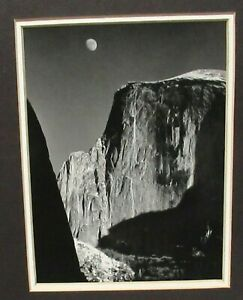 MOON AND HALF DOME BLACK AND WHITE  PHOTOGRAPHY BY ANSEL ADAMS