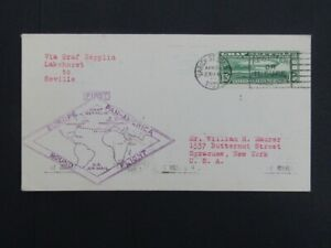 Nystamps Old US stamp C13 used on Zeppelin Flight cover to NY $200 e13ze