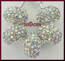 5 White Iridescent Crystals Light Weight Bead fit European Jewelry 5mm Hole R116