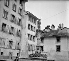 SUISSE c. 1950 - Maisons Fontaine Ste Anne Fribourg - Négatif 6 x 5 - Sui 79