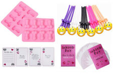 Bachelorette Party Kit - Sipping Straws, Pink Ice Candy Molds, Set of Dare Cards