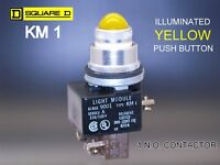 SQUARE D Illuminated KM-1 Class 9001 Ser. A 120 VAC Momentary Pushbutton Yellow