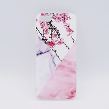 iPhone 5, 5s, SE hoesje - Triangle Marble flower pink