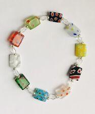 Stunning Multicoloured Millefiori Oblong Glass & Crystal Bracelet Version 2