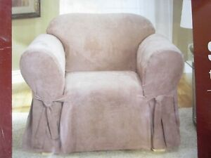 """sure fit chair cover soft poly stretch suede sable fits 32"""" to 43"""" washable NWT"""