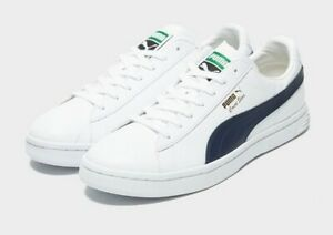 Puma Court Star White UK Size 10 Trainers Sneakers White Navy Brand New Boxed