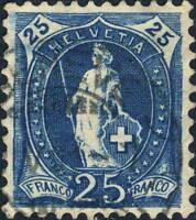 SUISSE / SWITZERLAND / SCHWEIZ - Mi.67C 25c bleu p.11-1/2x11 - used GENEVA 1901