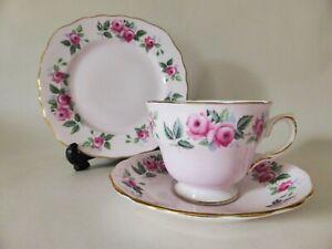 Colclough Pink Bone China Tea Trio, Pattern 8239, Vintage Tea Cup, Saucer, Plate