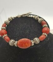 DP treasures of India QVC Hallmarked silver & Red Dyed Sponge Coral Bracelet
