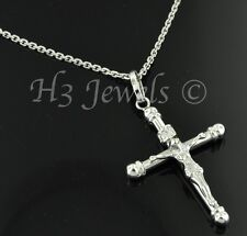 18k solid white gold JESUS CHRIST cross pendant  #963 h3jewels 2.20 grams