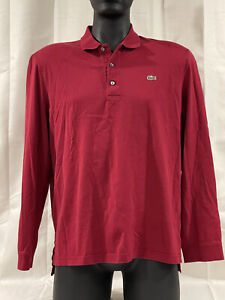 Lacoste Mens Red Long Sleeve Polo Sport Shirt Size 5 U.S. L Large